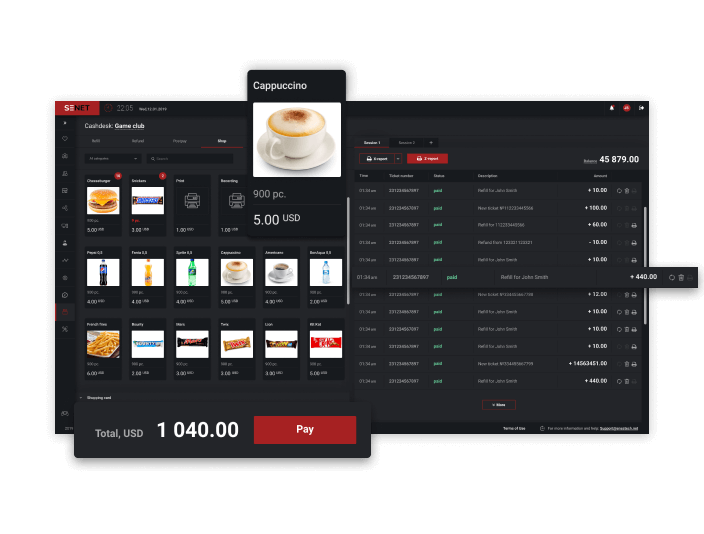 Online POS system in the management software for cyber cafes - Senet
