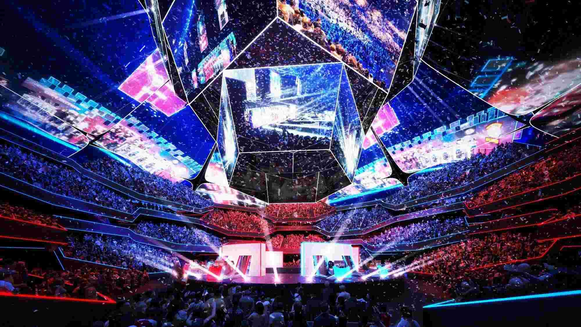 Large e-Sports arena and venue with a lot of gamers viewers on esport tournament